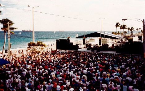 The Winterfest Beach Ball with stage and large crowd