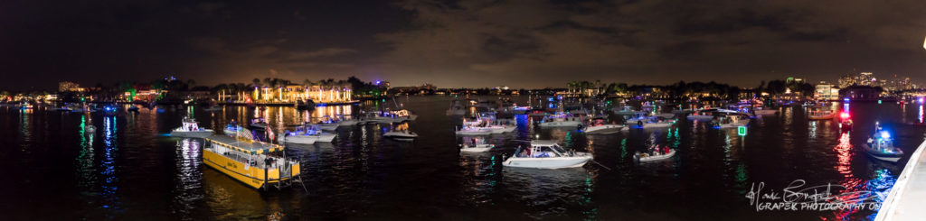 Panoramic of decorated boats from the parade