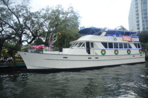 charter boat with corporate signage