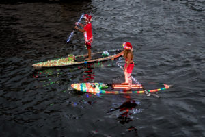 Kayakers from the boat parade