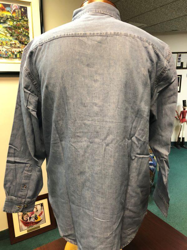 back side of mens denim shirt