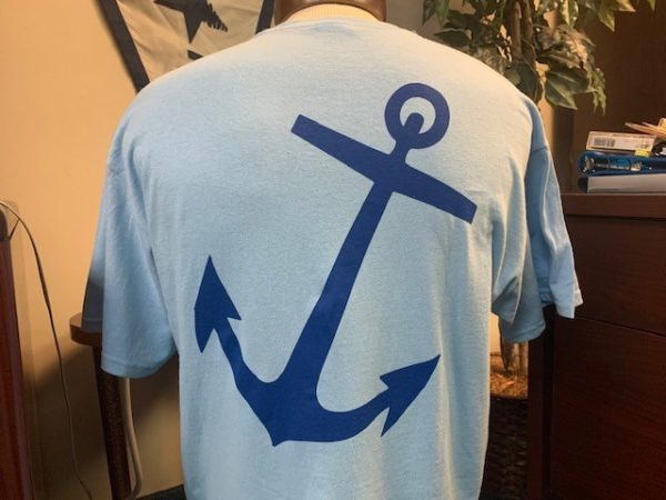 Back of blue shirt with anchor