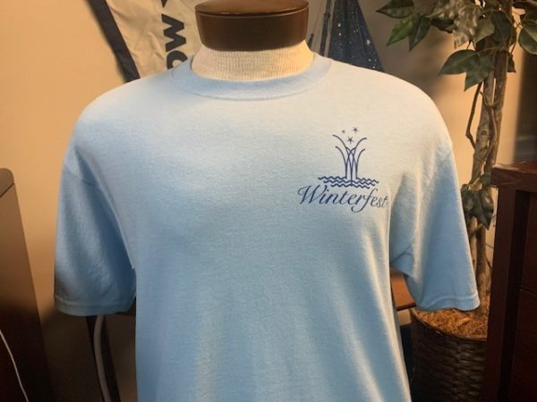 Front of blue shirt with anchor