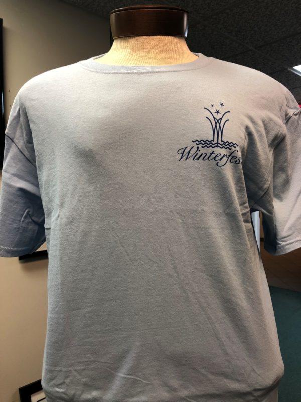 front side of winterfest blue short sleeve tee