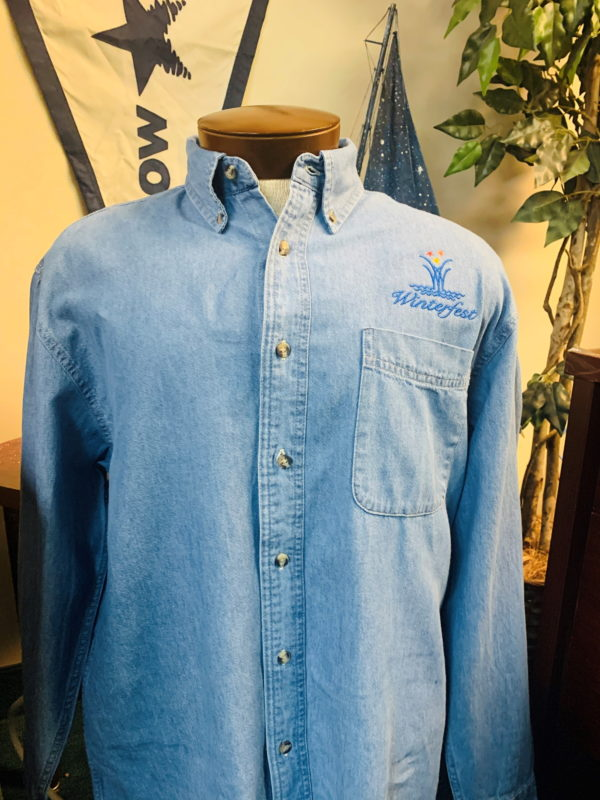 Denim men's shirt front