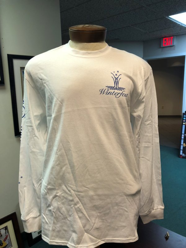 Front of white long sleeve tee shirt