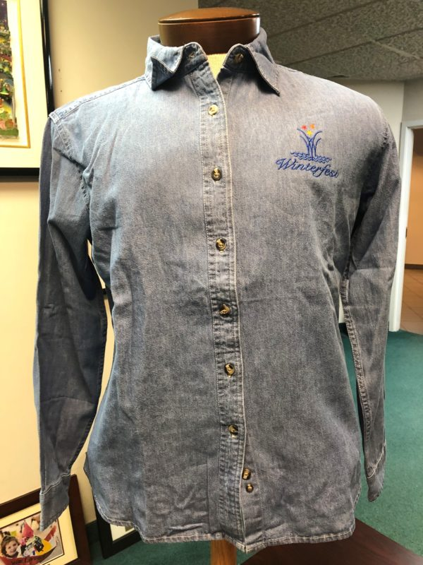front side of ladies denim shirt