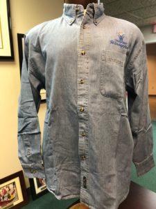 Front side of mens denim shirt