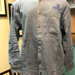 Front side of mens denim shirt