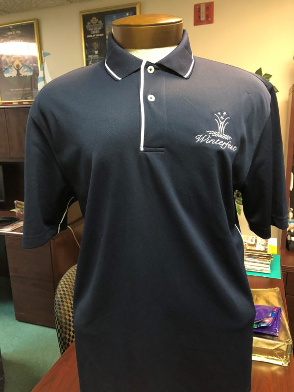 front side of winterfest navy polo shirt