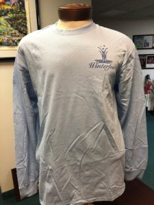 Front of light blue long sleeve tee