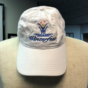 front side of winterfest white hat