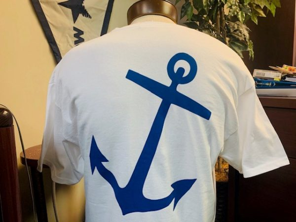 Back of White Shirt with Anchor