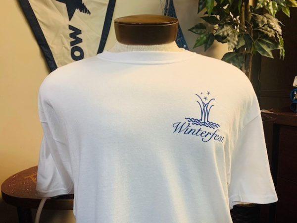 Front of white shirt with anchor