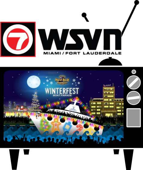 A cartoon TV with the Winterfest Parade on it and the WSVN logo