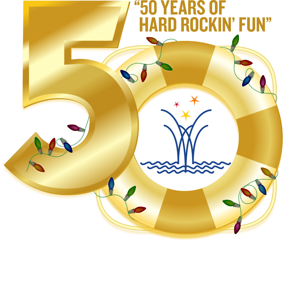 Logo celebrating the fiftieth anniversary of the Winterfest Boat Parade in 2021