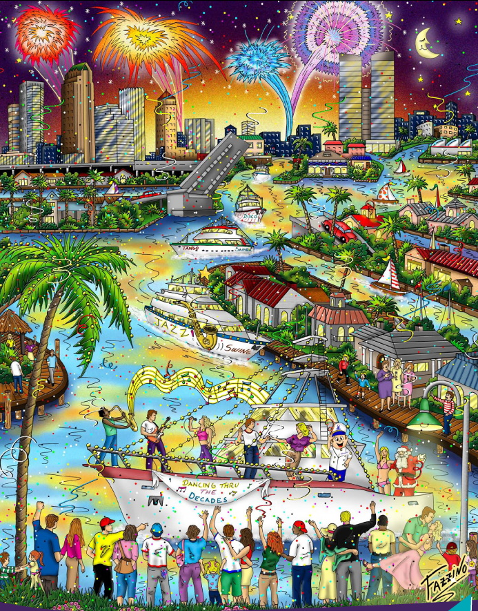 The Winterfest Boat Parade Poster for 2010 by Charles Fazzino