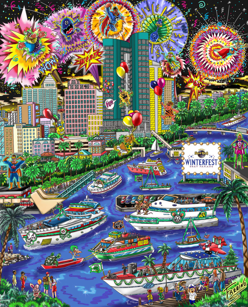 The Winterfest Boat Parade Poster for 2016 by Charles Fazzino