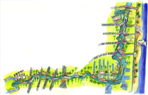 A hand drawn watercolor map of the Winterfest parade route